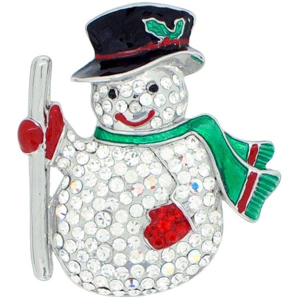 Silvertone Crystal Snowman Brooch