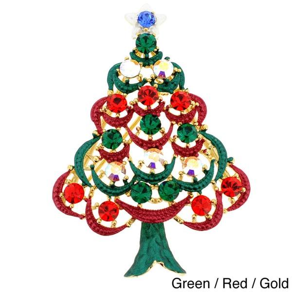 Gold-Tone Metal/Crystal Christmas Tree Brooch