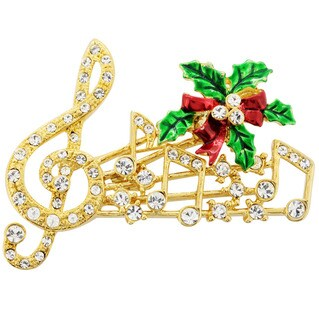 Goldtone Crystal Holiday Music Note Brooch