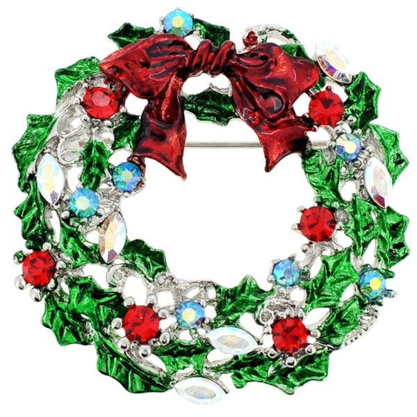 Silvertone Crystal Holiday Wreath and Red Bow Brooch