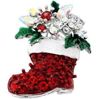Silvertone or Goldtone Crystal Christmas Boot Brooch
