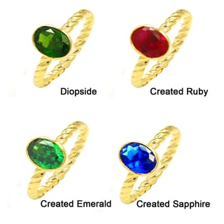 De Buman Gold Plated Sterling Silver Chrome Diopside, Created Emerald, Created Sapphire or Created Ruby Gemstone Ring