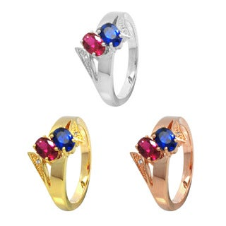 De Buman Sterling Silver Blue, Red, and White Created Gemstone and Cubic Zirconia Ring