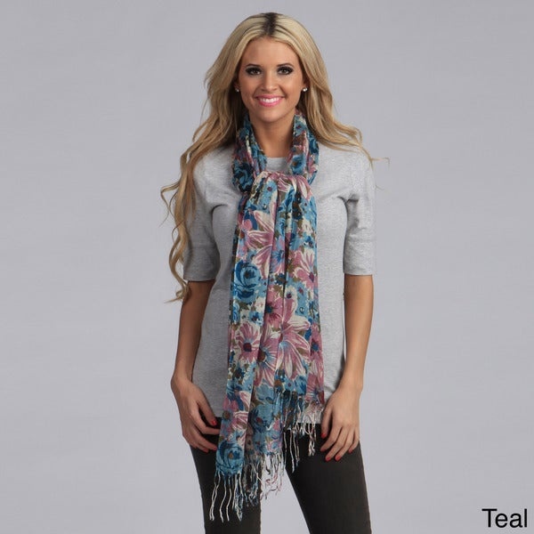 Cashmere Showroom Floral Fusion Wool Scarf