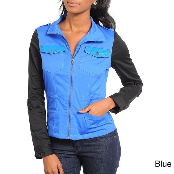 Stanzino Women's Two Tone Zip-up Long Sleeve Jacket