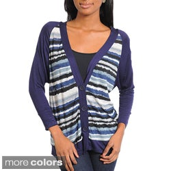 Stanzino Women's Striped Long Sleeve Cardigan