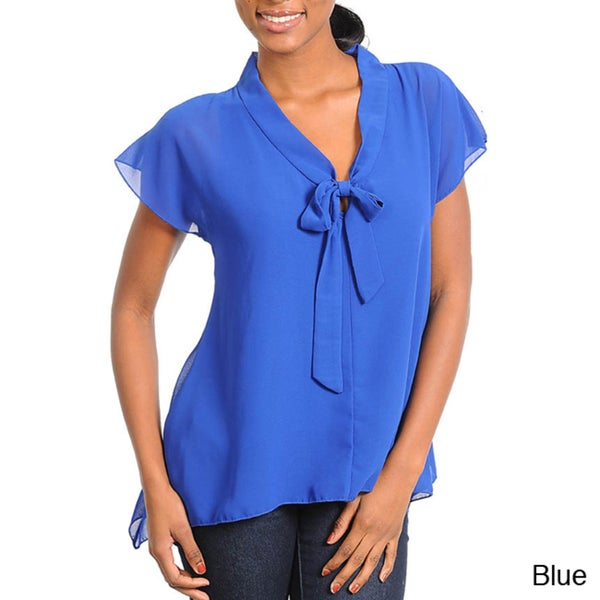 Stanzino Women's Short Sleeve Ribbon Bow Top