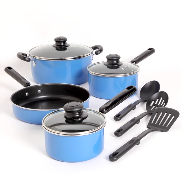 Gibson Blue 'Merville' 10-piece Cookware Set