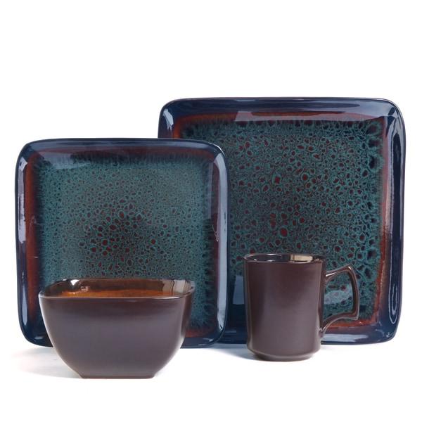 Kenzo Square Reactive Glaze 16-piece Dinnerware Set