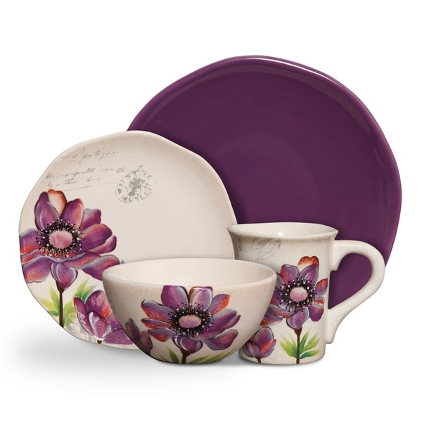 Shop Botanical Charm Purple 16 Piece Floral Dinnerware Set