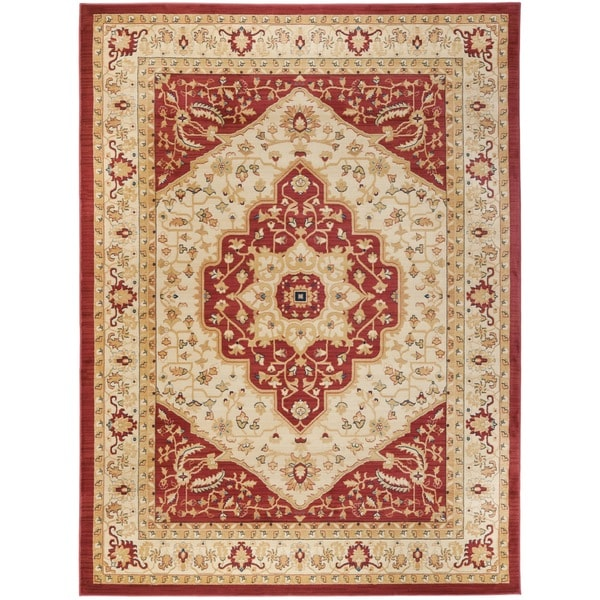 Safavieh heriz cream red area rug free shipping on for Cream and red rugs
