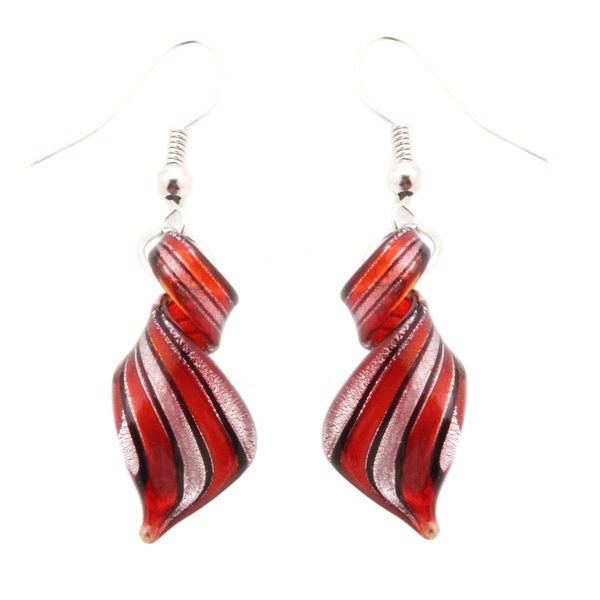 Murano Inspired Glass Black and Silver Twist Earrings