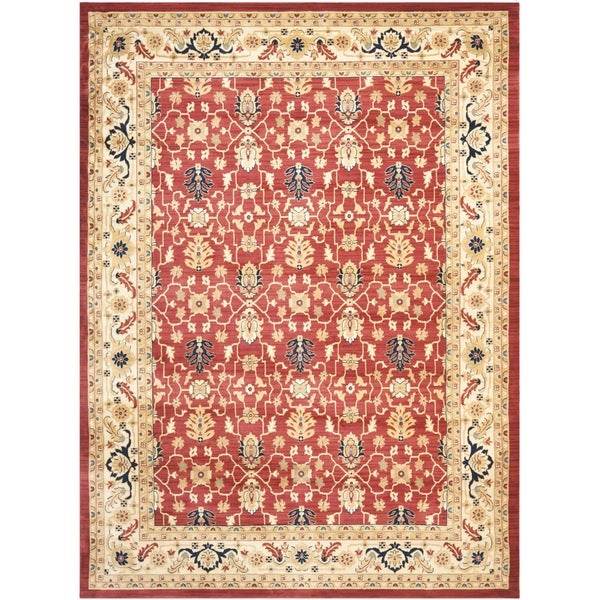 Safavieh farahan red cream rug free shipping today for Cream and red rugs