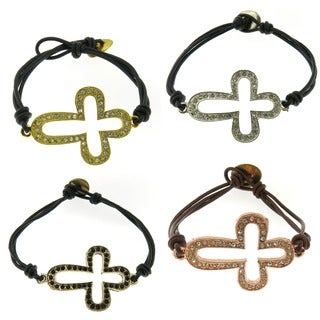 Handmade Metal Sideways CZ Cross and Leather Bracelet (United States)