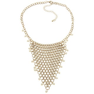 LucyNatalie Goldtone Faux Pearl Chainmail Bib Necklace