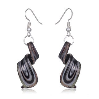 Murano-Inspired Glass Purple, Blue and Silver Twist Earrings (3 options available)