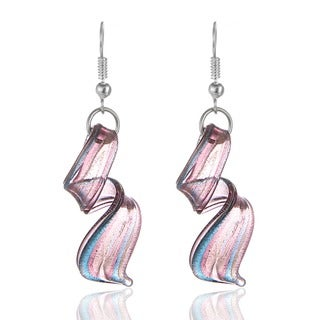 Murano Inspired Glass Purple, Blue and Silver Twist Earrings