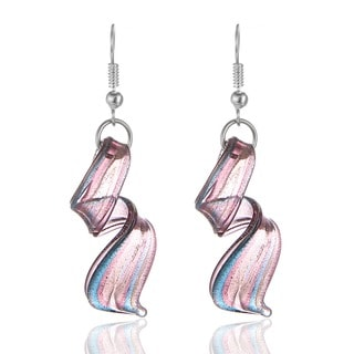 New Handcrafted Murano Italian Style Glass Purple Twist Quality Fashion Earrings