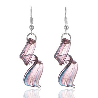 Murano-Inspired Glass Purple, Blue and Silver Twist Earrings
