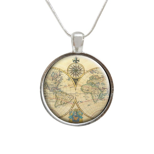 Vintage Style Map of the World Compass Glass Pendant and Necklace