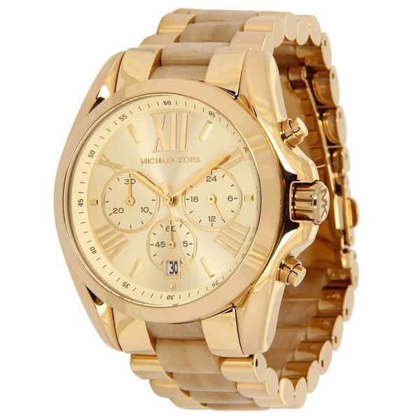 Michael Kors Women's MK5722 Bradshaw Goldtone and Horn Watch
