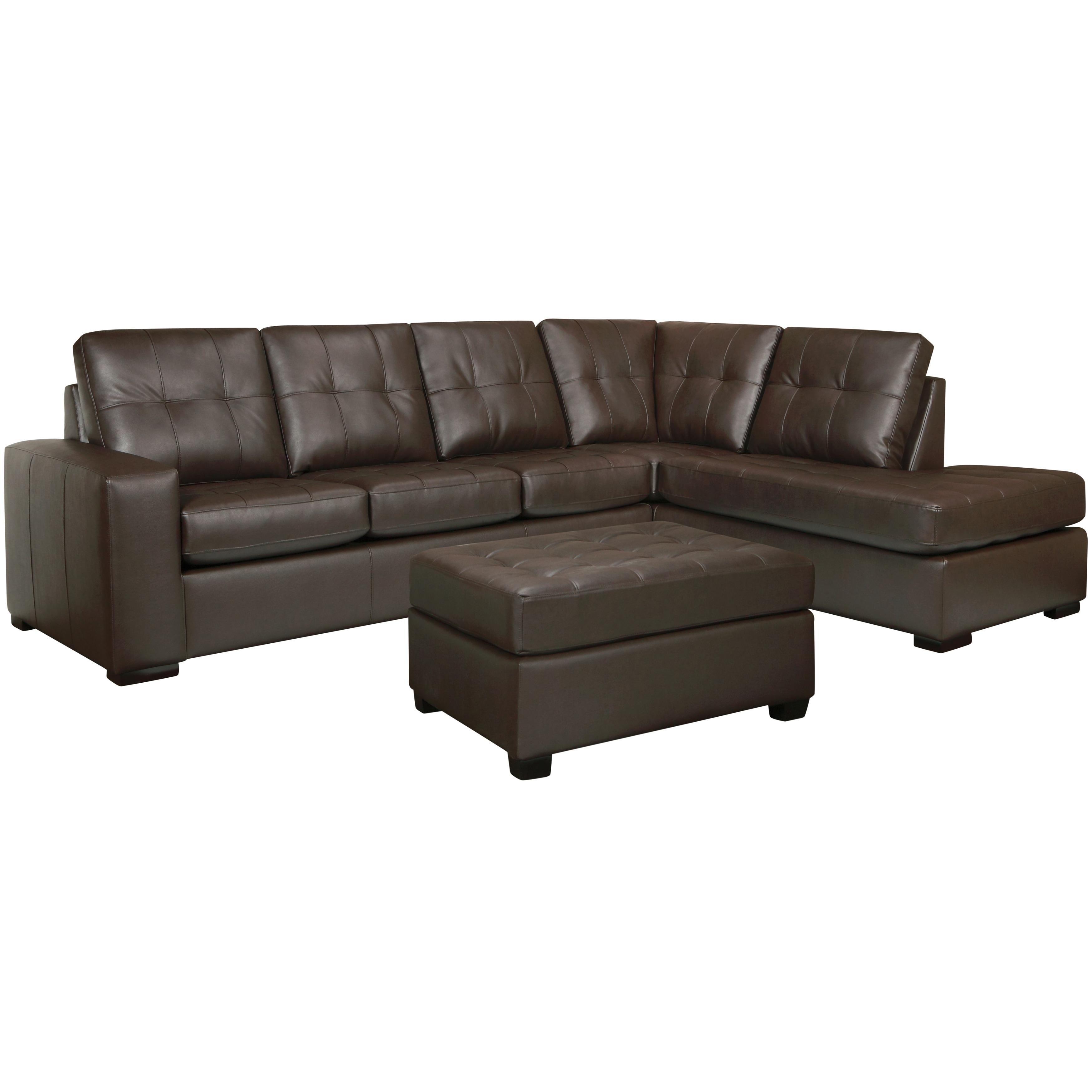 Drake Chocolate Brown Italian Leather Sectional Sofa and ...