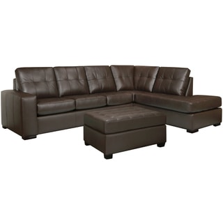 Drake Chocolate Brown Italian Leather Sectional Sofa and Ottoman