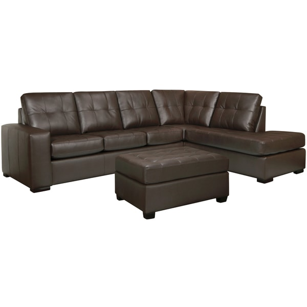 Drake Chocolate Brown Italian Leather Sectional Sofa and Ottoman  sc 1 st  Overstock.com : italian leather sectionals - Sectionals, Sofas & Couches