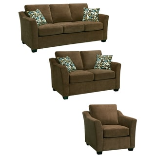 Larson Cocoa Brown Sofa, Loveseat and Chair