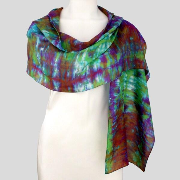 Gypsy River Riches Hand-Dyed, Washable 'Aurora' Silk Scarf