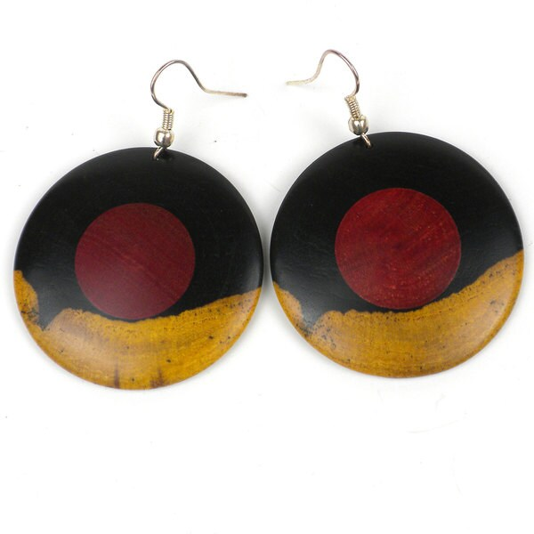 Two Tone Blackwood Rosewood Center Earrings (Mozambique)