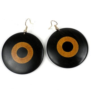 Handcrafted Circles Blackwood Teak Earrings (Mozambique)