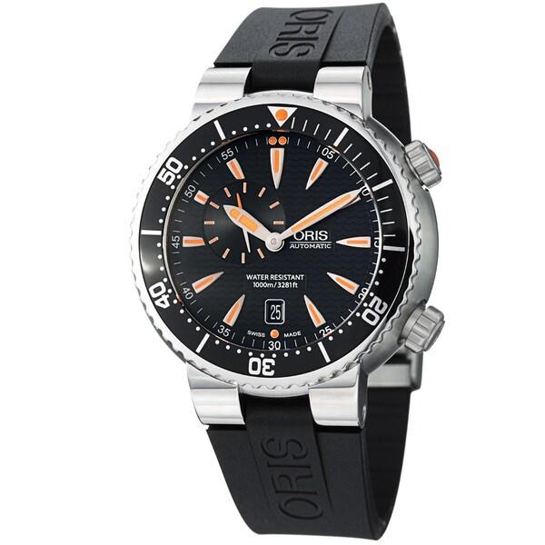 Oris Men's 743 7609 8454 RS 'TT1 Diver' Black Dial Black Rubber Strap Automatic Watch