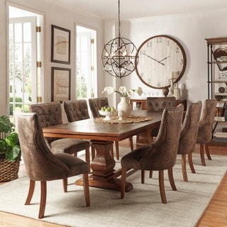 TRIBECCA HOME Atelier Traditional French Burnished Brown Pedestal Dining Set