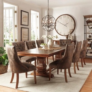 Atelier Traditional French Burnished Brown Pedestal Dining Set by iNSPIRE Q Classic