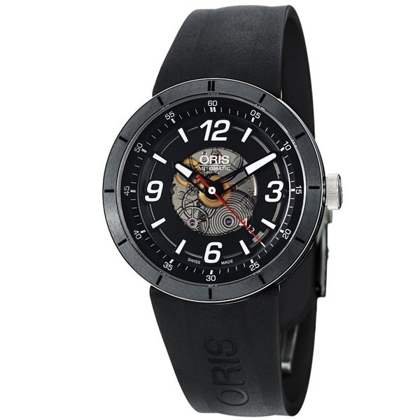 Oris Men's 'TT1' Black Skeleton Dial Black Rubber Strap Watch