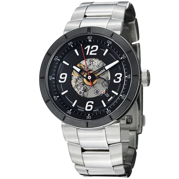 Oris Men's 'TT1' Black Skeleton Dial Stainless Steel Automatic Watch