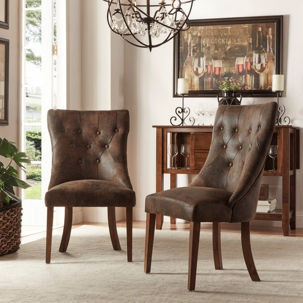 Atelier Traditional French Burnished Brown Oak Dining Chair by TRIBECCA HOME (Set of 2)