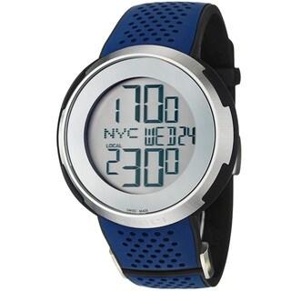 gucci menu0027s ya114105 u0027i gucciu0027 silver digital dial blue rubber strap watch