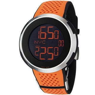 Gucci Men's 'I Gucci' Black Digital Dial Orange Rubber Strap Watch