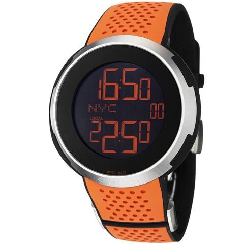 Gucci Men's YA114104 'I Gucci' Black Digital Dial Orange Rubber Strap Watch