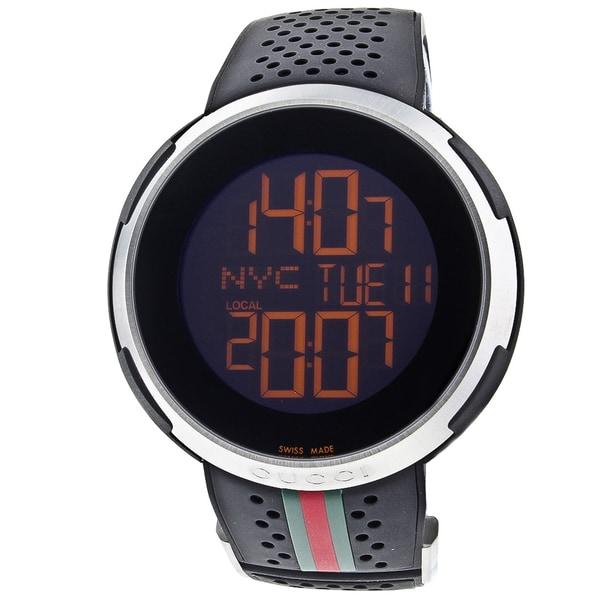 Gucci Men's YA114103 'I Gucci' Black Digital Dial Black Rubber Strap Watch