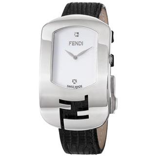 Fendi Women's 'Chameleon' White Diamond Dial Black Leather Strap Watch