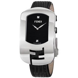 Fendi Women's 'Chameleon' Black Diamond Dial Black Leather Strap Watch