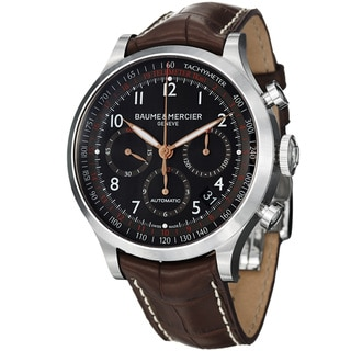 Baume & Mercier Men's 'Capeland' Black Dial Brown Leather Strap Watch