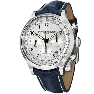 Baume & Mercier Men's MOA10063 'Capeland' Chronograph Automatic Blue Leather Watch