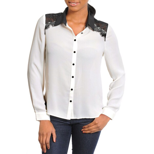 Stanzino Women's Ivory Lace-detailed Long Sleeve Shirt