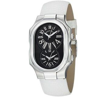 Philip Stein Women's 'Signature' Black Dial White Leather Strap Watch