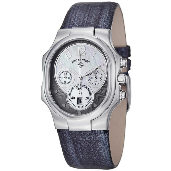 Philip Stein Women's 'Signature' Navy Metallic Leather Strap Watch