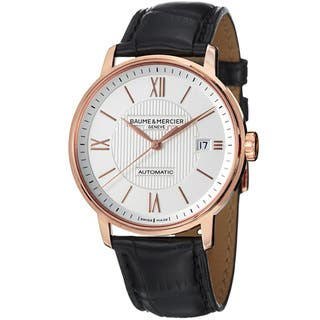 Baume & Mercier A10037 Men's 'Classima' Silver Dial Black Leather Strap Watch|https://ak1.ostkcdn.com/images/products/7517094/7517094/Baume-Mercier-Mens-Classima-Silver-Dial-Black-Leather-Strap-Watch-P14956164.jpeg?impolicy=medium